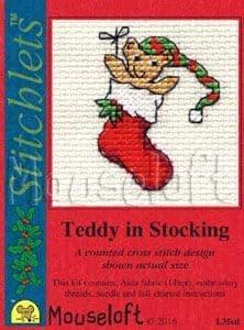 Mouseloft Teddy in Stocking Card Christmas Stitchlets cross stitch kit